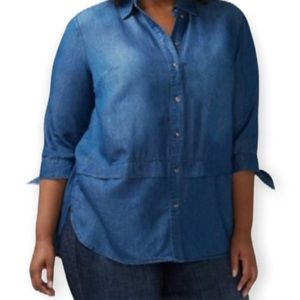 Lane Bryant Button Front Tie Sleeve Blouse